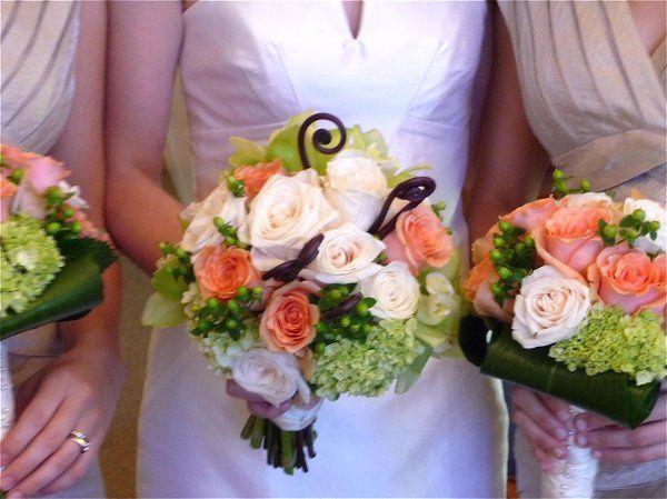 Hydgrangea, roses, fern curls, hypericum berries
