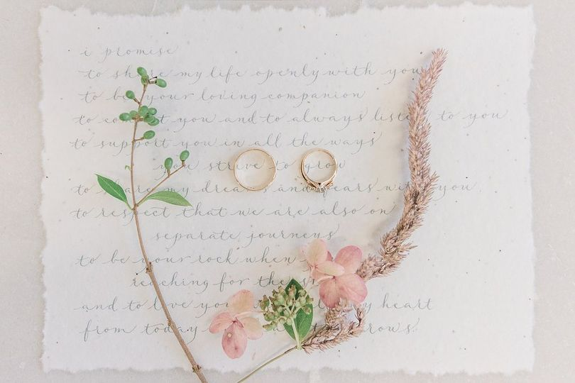 Vows lettered in Serenity