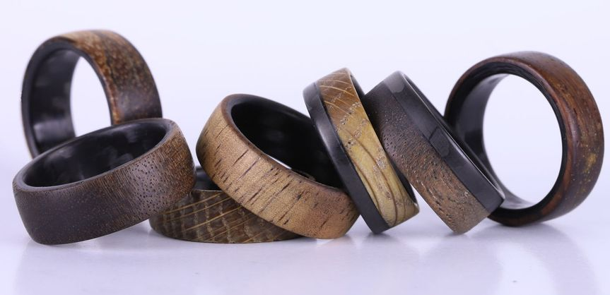 Handcrafted wood rings.