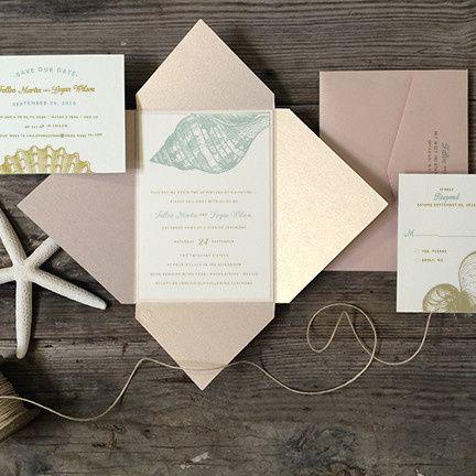 etched seashells wedding invitation