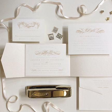 flourished script wedding invitation
