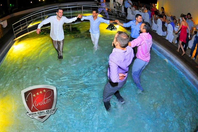 The dance floor was moved into the pool ...