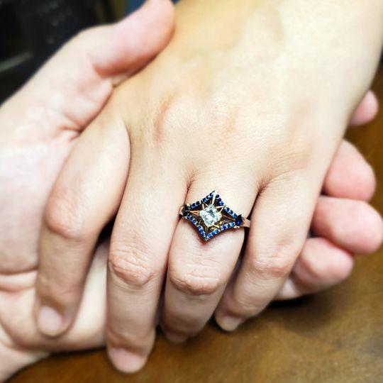 Diamond + Sapphire Custom Ring