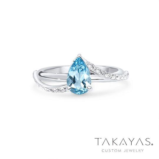 Pear Aquamarine Custom Ring