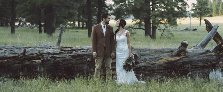 Newlyweds in the forest