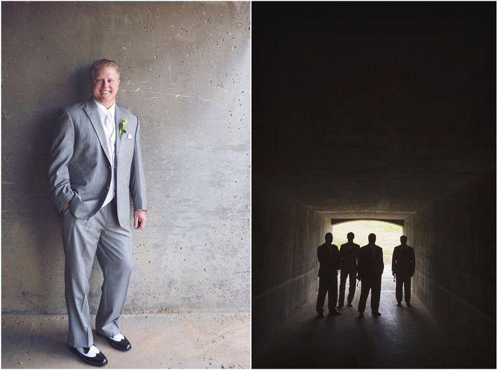 groomsmen in tunnel