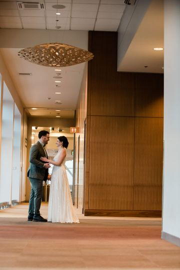 Bride and groom in our lobby