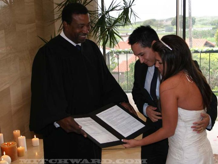 Tmx 1372787564719 Carolinakronwaldhernandezoswaldohernandezmitchwardfinalad Manhattan Beach wedding officiant
