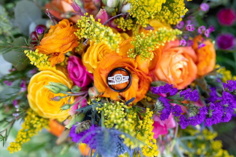 Wedding Rings Colorful Bouquet