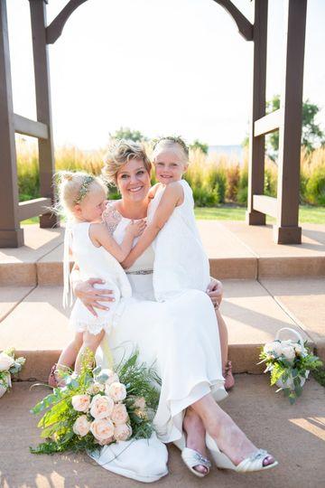 Bride with her flowergirls