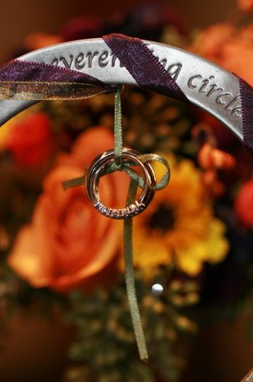 Alternative to the ring pillow - an engraved pewter ring wrapped in wedding colors.