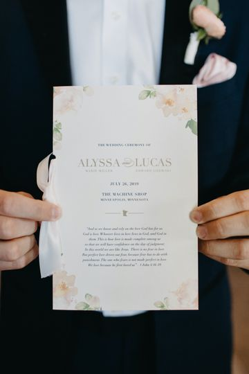 Blush Wedding Program