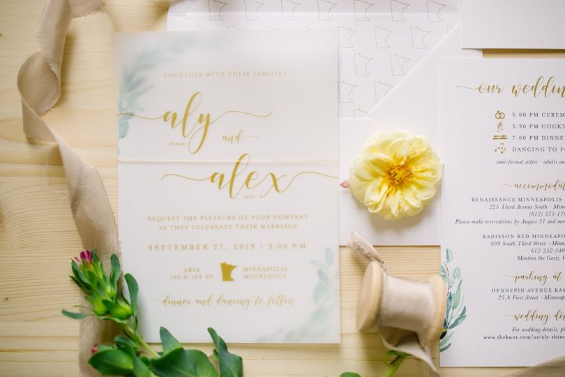 Gold and Greenery Vellum