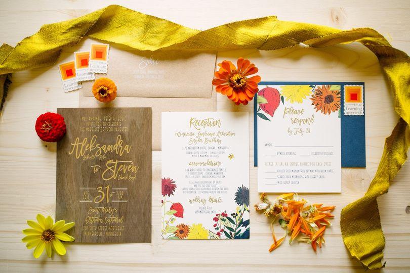 Gold Foil on Wood Invitation
