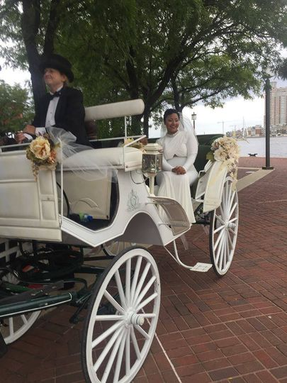 Bride on the carriage