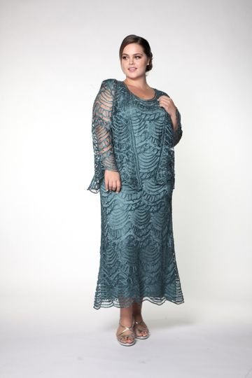 Teal long lace sleeves