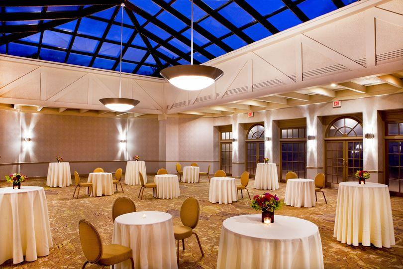 Tea tables in sky-lit Solarium