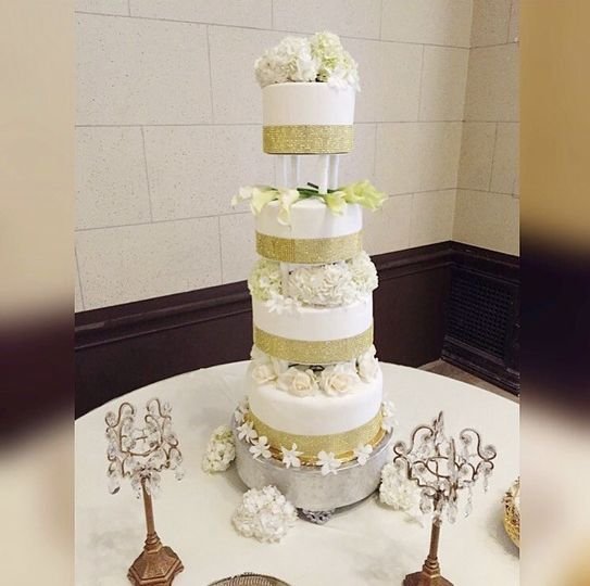 Blinged Out Wedding Cake with Fresh Flowers