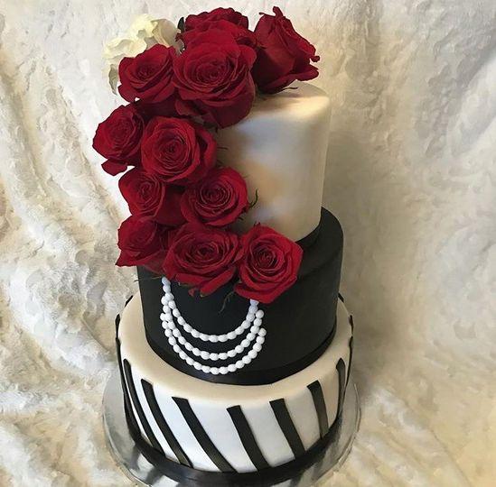 Romantic Cake with Fresh Flowers