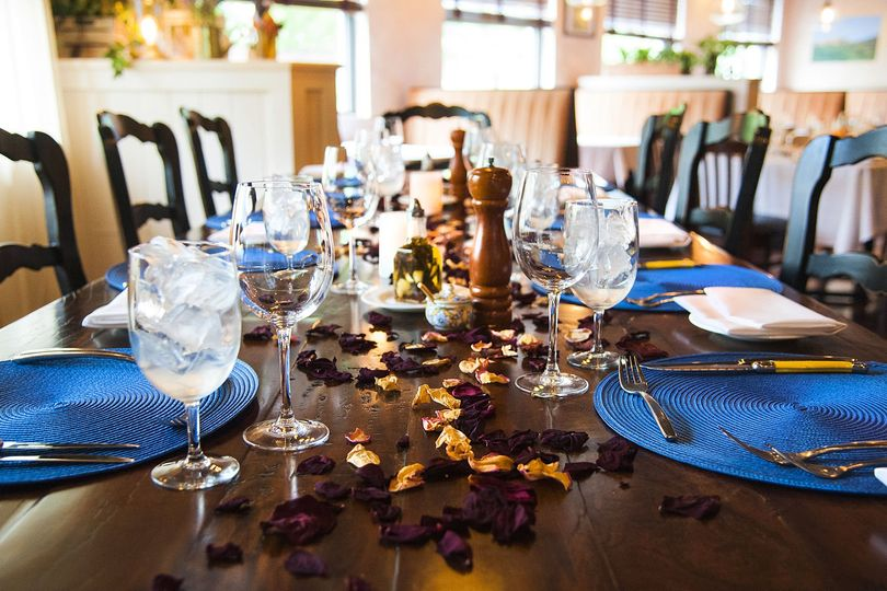 Table setting and petals