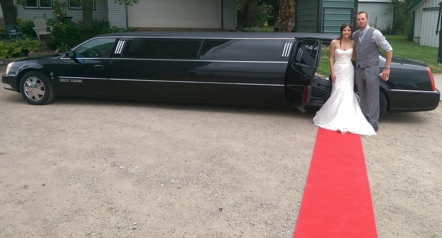 Red carpet service at a wedding on a farm!