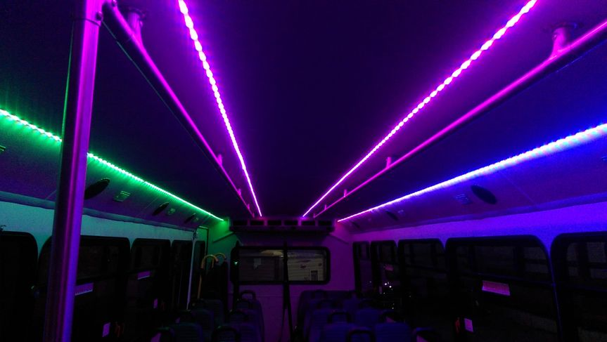Interior of our 28 passenger shuttle/party bus