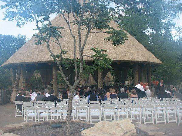 This is a picture of 'The Village'. It is set for an outdoor wedding.