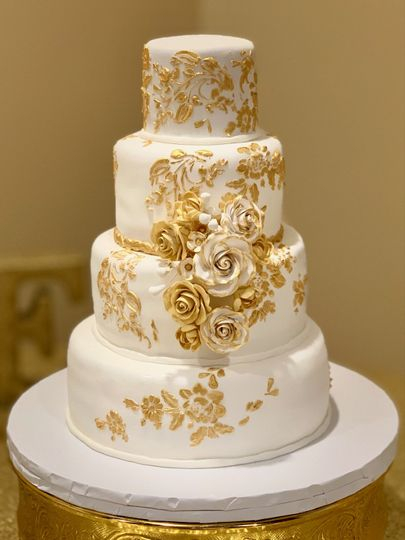 Gold stencils and roses.