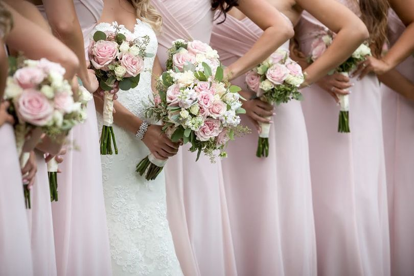 Soft pink wedding bouquets