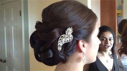 Bridal updo and pin