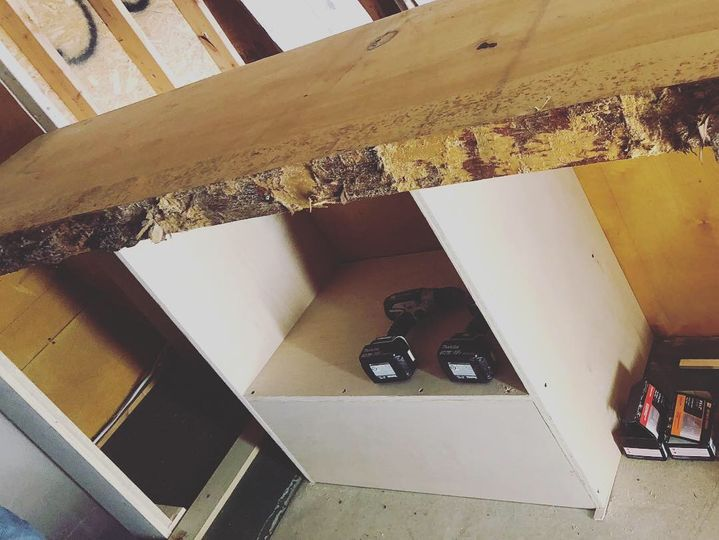 Checking the wood counter fit