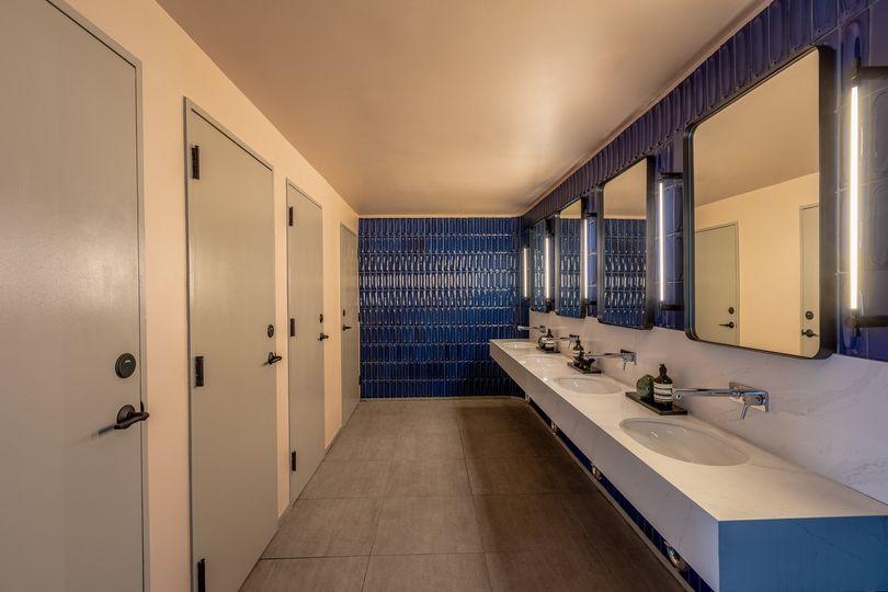 Six unisex bathrooms