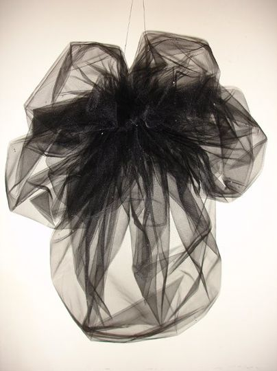 """Angelique"" - Shoulder length 'Goth' Bubble Veil with Swarovski Rhinestones"
