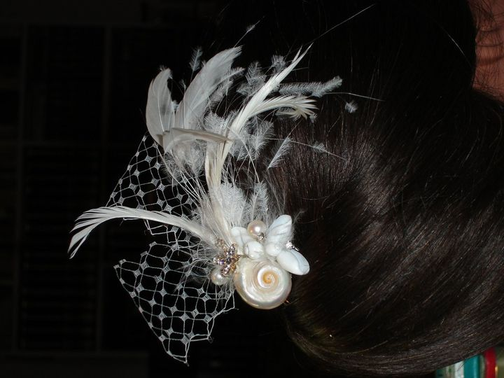 Beach Theme Fascinator Natural Seashells, Freshwater Pearls, Swarovski Crystals, Feathers and French...
