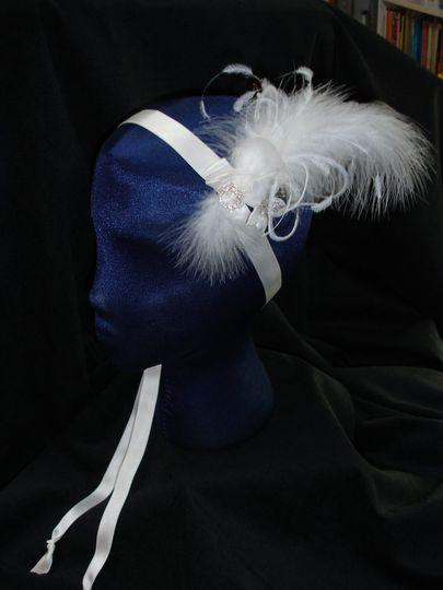 Bridal Headband.  Silk Satin Ribbon with feathers, Hand made flowers and Rhinestone buckle.  OOAK...