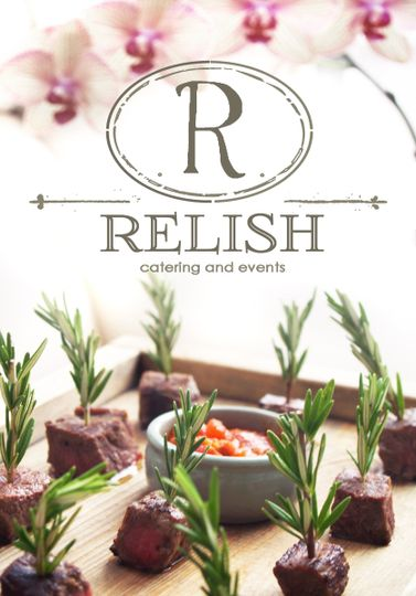 relish logo with orchids