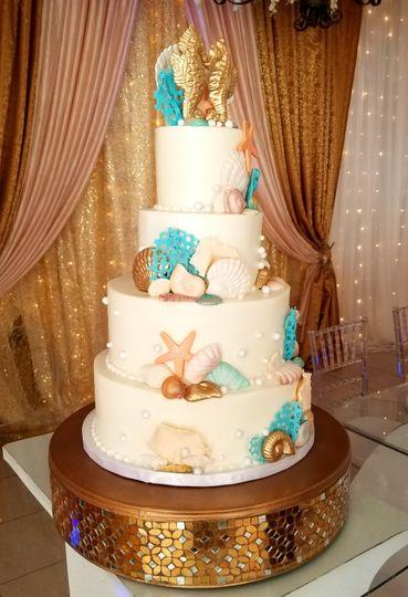Sea theme wedding cake
