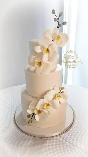 All-white wedding cake