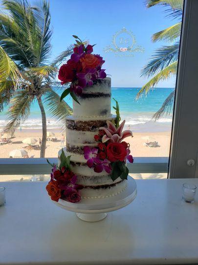Beachfront Naked Cake Wedding