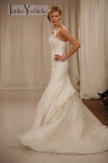 Gail gown: Lace gown with multi-layered ruffle train