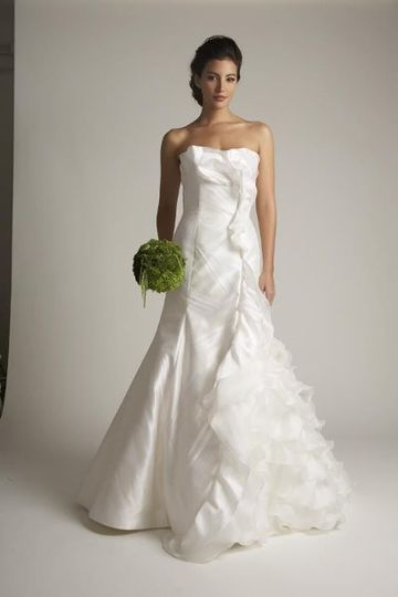 Verde gown: subtle patterned silk with side mesh ruffle detail
