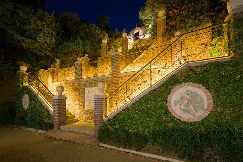 Golden stairs to top grounds