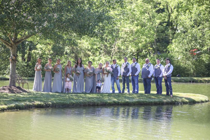 Wedding party on the pond