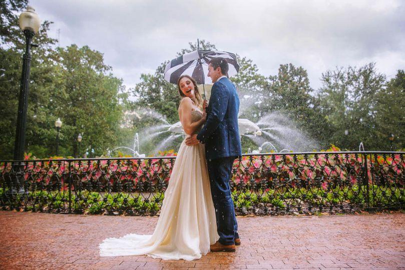 Rainy Savannah wedding portrait at Forsyth Park.