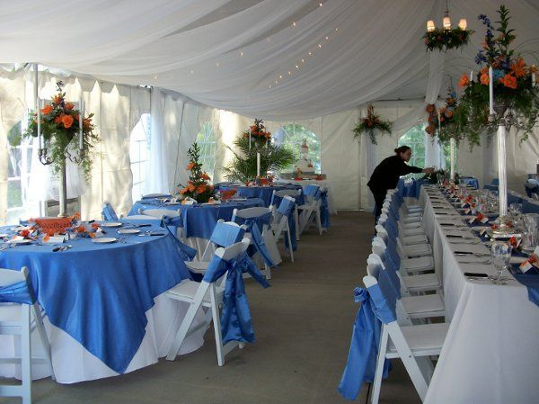 canopy, tent. draping lights, linens,napkins, tablesettings