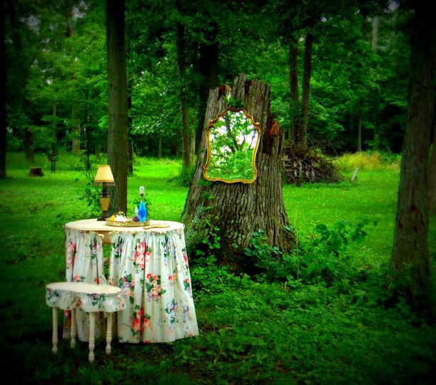 """Fairy tale Forrest"" created with our Vintage Vanity and Stool w/ original bark cloth, Gold Mirror..."