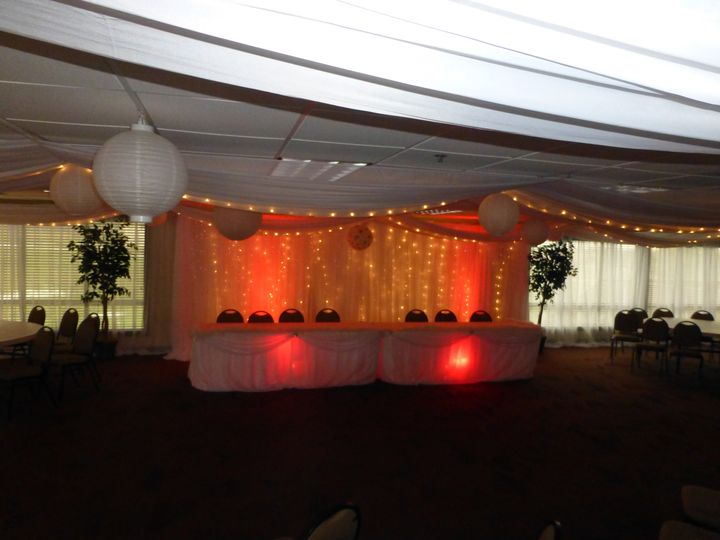 Head Tables and backdrop using red uplights