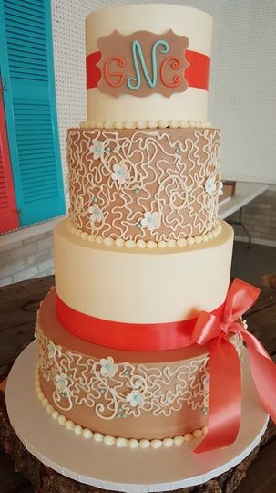 4-tier detailed wedding cake