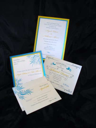 Blue and yellow invite detailing