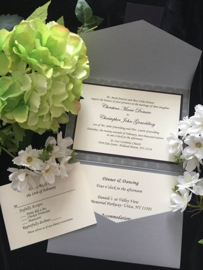 Grey enveloped invite